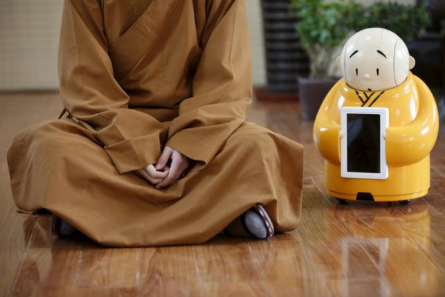 Robot Monk  Xian'er Makes Worshipers Happy At A Beijing Temple